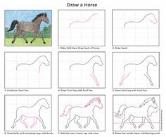 Animal Drawings How to Draw a Horse - Art Projects for Kids. Horse Drawings, Animal Drawings, Drawing Lessons, Art Lessons, Drawing For Kids, Art For Kids, Drawing Art, Projects For Kids, Art Projects