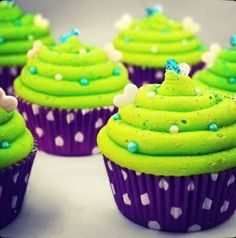 Lime Neon Green Purple & Turquoise Cupcakes