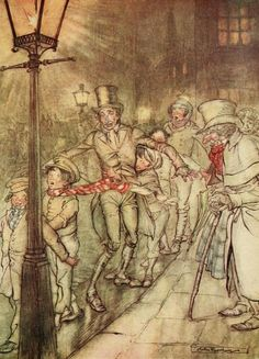 Bob Cratchit went down a slide on Cornhill, at the end of a lane of boys, twenty times, in honour of its being Christmas Eve - A Christmas Carol by Charles Dickens, 1915