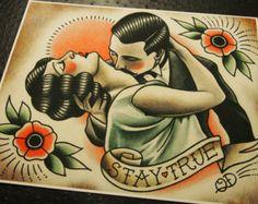 Marin et clapet tatouage traditionnel Print par ParlorTattooPrints