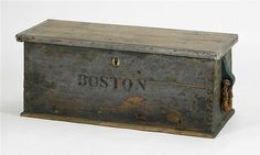 19th Century Sailor's Sea Chest, painted wood, dovetail construction with canted front and back