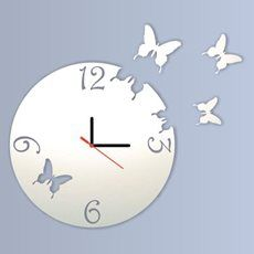 Espelho Decorativo Relógio Borboletas Voando Redondo