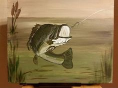 """Lured"" 16"" x 20"" canvas panel bass fish painting"