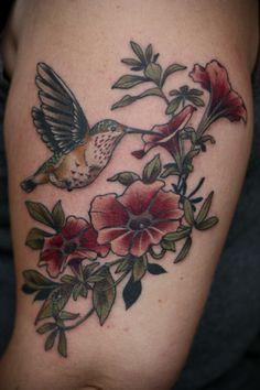 Kirsten Holliday hummingbird and petunias tattoo