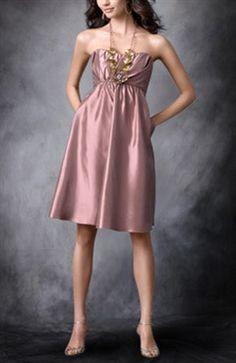 A-line Taffeta Strapless Knee-length Bridesmaid Dress - Bridesmaid Dresses - OuterInner.com