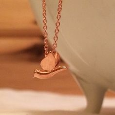 Rose Gold Plated Tiny Bird Necklace 17in chain by Sunray Jewels on Opensky #jewelry
