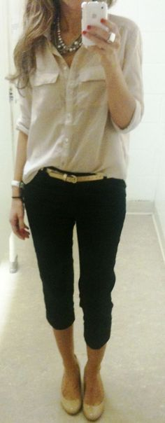 Button down: H&M Crop Pants: Marshalls Shoes: Steve Madden via Macy's Belt: Gap Necklace: JcPenny Ring: ? old