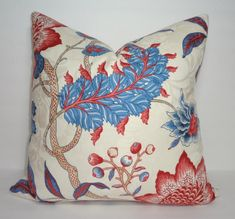 Blue Red Floral Print Pillow Covers Decorative Throw by HomeLiving