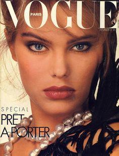 Renée Simonsen shot by Albert Watson on the cover of Vogue Paris February 1983.