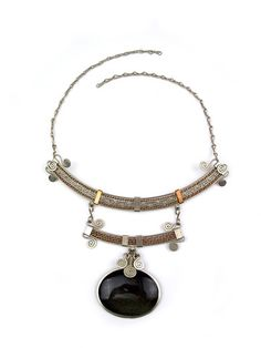 "Wire Wrapped Necklace ""Juliette."" Mixed metal hammered wire wrap necklace made with copper and german silver and an 100%  natural Mexican Gold Sheen Obsidian stone."