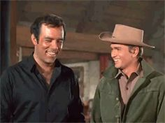 "Adam and Little Joe share a laugh (Pernell Roberts; Michael Landon; ""Dead and Gone"", S06E27, 1965) – this episode was Pernell Roberts last appearance on Bonanza."
