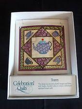 Celebration of American Quilts Ceramic Tile Ornament ~ TEAPOTS ~ MIB