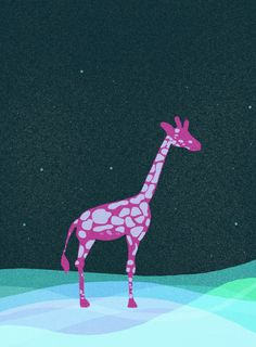 Kid's Print of Pink Giraffe Great for by ArtfulAbstracts on Etsy, $18.00