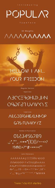 popular typeface - #Futuristic #Decorative Download here: https://graphicriver.net/item/popular-typeface/19719496?ref=alena994