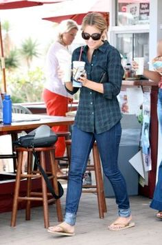 Where can I get Lauren Conrad's jeans, plaid shirt, sunglasses and flip flops?