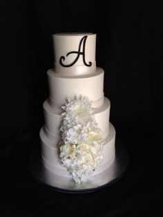 Wedding Cake; Handmade Monogram; Black and White