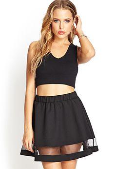 Mesh Paneled Woven Skirt | Forever 21 - 2000067457