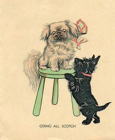 SUPER ART DECO VINTAGE CHRISTMAS GREETINGS CARD PEKINGESE SCOTTIE DOG (05/09/2012)