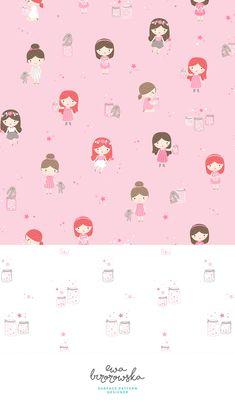 Emoji Wallpaper, Pattern Wallpaper, Wallpaper Backgrounds, Illustration Children, Pattern Illustration, Textile Pattern Design, Surface Pattern Design, Firefly Jar, Girl Bedroom Designs