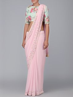 Printed Sea Blue Blouse & Pink Georgette Saree