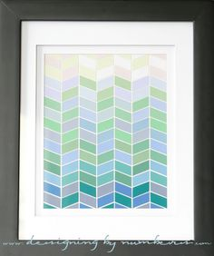 ombre paint chip herringbone art