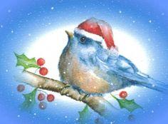 Christmas bluebird - love it. Noel Christmas, Christmas Animals, Vintage Christmas Cards, Retro Christmas, Christmas Images, Xmas Cards, Christmas Crafts, Blue Bird Art, Watercolor Christmas Cards