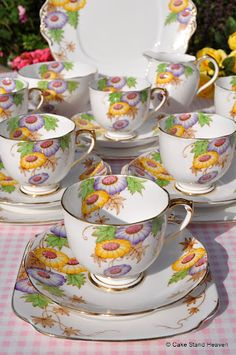 Roslyn china hand painted art deco tea set and cake plate...I love this!