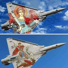 Mirage 2000 EGM - HAF (Hellenic air Force) - Saint Archangel Michael protector of the Hellenic air force Military Jets, Military Aircraft, Military Weapons, Russian Fighter Jets, Ethiopian People, Hellenic Air Force, Dassault Aviation, Church Memes, Black Beast