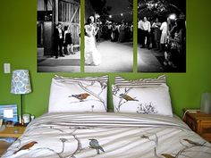 Giant canvass of wedding shots above your bed :) - I almost did something like this!