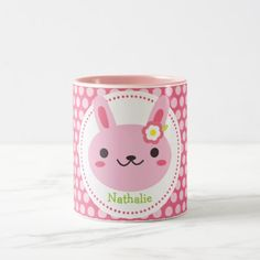 Pink Kawaii Bunny Two-Tone Coffee Mug #easter #mugs