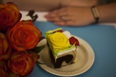 Our wedding cake.  Red Yellow Turquoise wedding.  Lake Geneva, WI.  Summer 2015