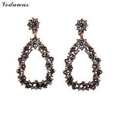 Vedawas 2016 Open Heart Flowers Dangle Earrings Fashion Jewelry Beads Women Wedding Long Drop Earrings Handmade Wholesale XG2290