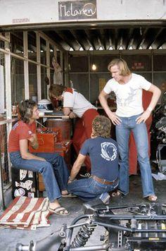 f1 Barry Sheene, James Hunt e Jochen Mass (Marlboro Team McLaren).