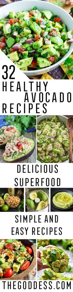 Healthy Avocado Recipes - Easy Clean Eating Recipes for Breakfast, Lunches, Dinner and even Desserts - Low Carb Vegetarian Snacks, Dip, Smothie Ideas and All Sorts of Diets - Get Your Fitness in Order with these awesome Paleo Detox Plans - thegoddess.com/healthy-avocado-recipes