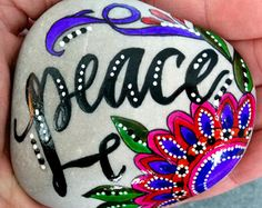peace / painted rocks / painted stones / rock art / paperweights / boho style / hippie  / words in stone / peace be with you / serenity