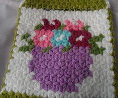 çiçek sepeti desenli uzun lif modeli    crochet Washcloth