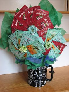 Cup of tea anyone?  Tea Bouquet for teachers, moms, grandmothers or as a centerpiece for a Ladies' Tea.