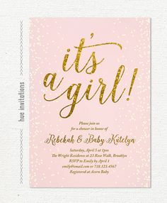 it\'s a girl blush pink and gold glitter baby shower invitation, confetti girl baby shower invite, printable baby sprinkle invitation, 5x7 S7