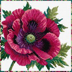 Bothy Threads - Purple Poppy - Garden Flowers Cross Stitch Kit from Bothy Threads Cross Stitching, Cross Stitch Embroidery, Embroidery Patterns, Hand Embroidery, Modern Embroidery, Cross Stitch Kits, Cross Stitch Designs, Cross Stitch Patterns, Purple Poppies