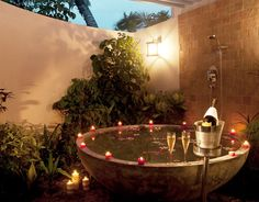 Combining a hot tub and a fireplace or a fire bowl makes the atmosphere special – it's like two natural powers, a striking contrast! Description from dec0ratinghomeideas.com. I searched for this on bing.com/images