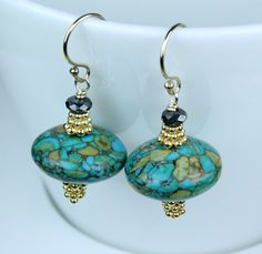Turquoise Mosaic Stone Earrings / Vermeil details / 14K Gold Filled Ear Wires. $24.00, via Etsy.