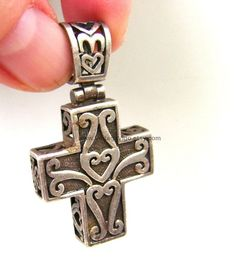 Cross Pendant Vintage Rare Jewelry Box Cross 3D Religious Relics Holy Baptism Catholic Celtic Hearts Spiral Spiritual Silver Toned Two Sided