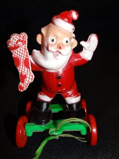 1950's Santa Candy Container Pull Toy Vintage by exploremag, $35.00