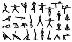 Woman Yoga Postures. Stick figure pictogram depicts various yoga positions, stance, poses, and workout.advanced; balance; balancing; basic; body; class; collection; energy; exercise; exercising; female; figure; fitness; girl; handstand; headstand; health; healthy; icons; isolated; lady; lifestyle; lotus; meditate; meditating; meditation; mind; pictograms; pilates; poses; positions; postures; relax; relaxation; set; signs; sitting; stance; stick figures; stretching; symbols; training…