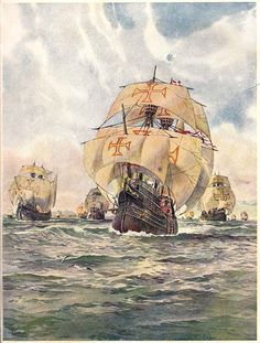 Portuguese Age of Discovery Ships Old Sailing Ships, Sign Of The Cross, Ship Drawing, Ship Of The Line, Nautical Art, Knights Templar, Ship Art, Model Ships, Painting Art