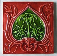 Red & Green Antique English Art Nouveau Tile