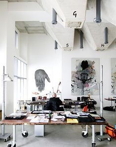 Studio space love the desk!-great table you can move as the lighting changes