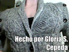 Hecho por Gloria S. Cepeda (courtesy of @Pinstamatic http://pinstamatic.com).  Detalle del delantero, se aprecian las trenzas y el cuello smoking.