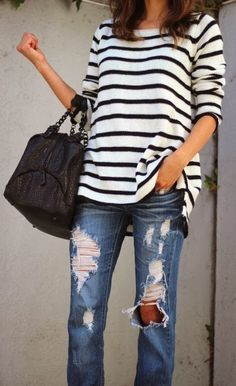 comfy casual outfit: striped sweatshirt and boyfriend jeans Looks Street Style, Looks Style, Style Me, Look Fashion, Spring Fashion, Autumn Fashion, Womens Fashion, Street Fashion, Milan Fashion