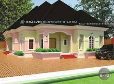 3 Bedroom Flat Bungalow Hosueplan in Nigeria (Portharcourt) 6 Bedroom House Plans, 3 Bedroom Floor Plan, 3 Bedroom Bungalow, 3 Bedroom Flat, My House Plans, Bungalow House Design, Home Design Plans, Plan Design, Beautiful House Plans